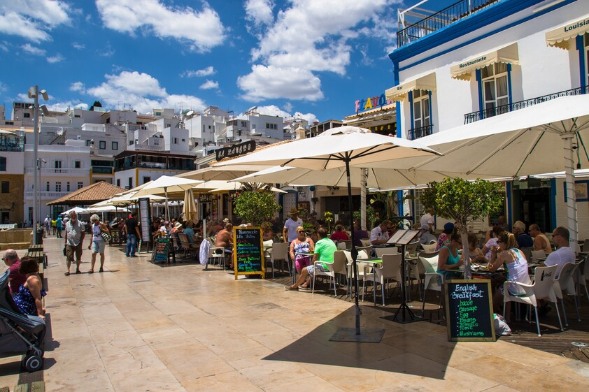 Terraces of restaurants in Albufeira