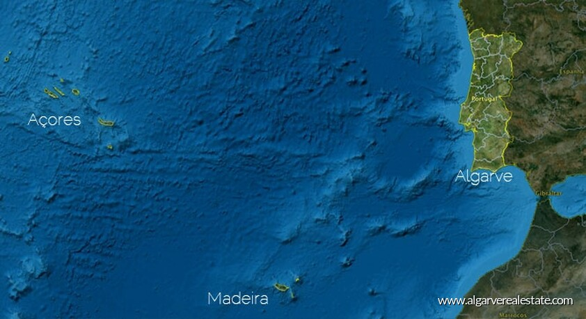 Map of Continental Portugal, Madeira and the Azores (satellite view)