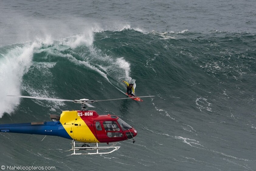 Surfer Garrett McNamara filming when he surfed the largest