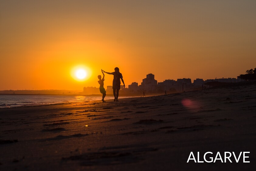 walk in the sunset in the Algarve