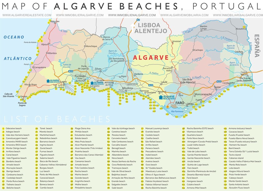 map of Algarve Beaches