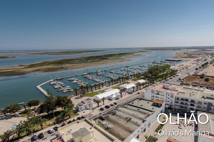 Aerial view of the marina of Olhão