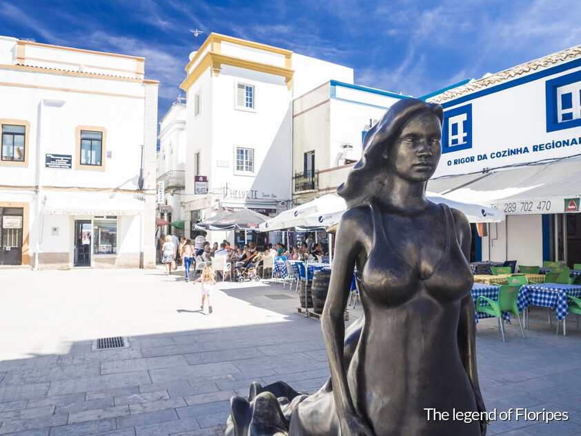 Statue of Floripes legend in the Baroque district in Olhão