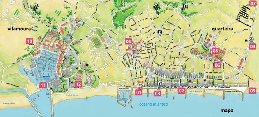 Map of the city of Quarteira